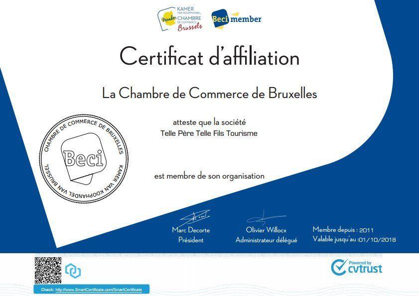 Certificat d affiliation la chambre de commerce de bruxelles - Certificat d origine chambre de commerce ...